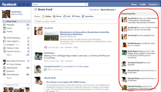 Facebook Happening Now o Ocurriendo Ahora