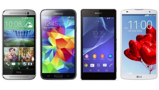 HTC One M8 Galaxy S5 Xperia Z2 Pro 2