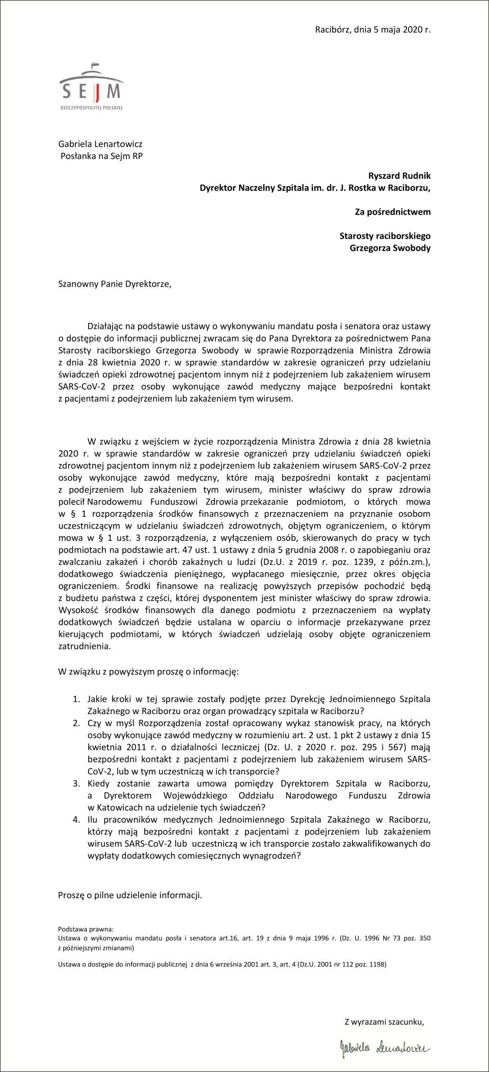 W sprawie rozporządzenia MZ z dnia 28.04 (4)-1-1