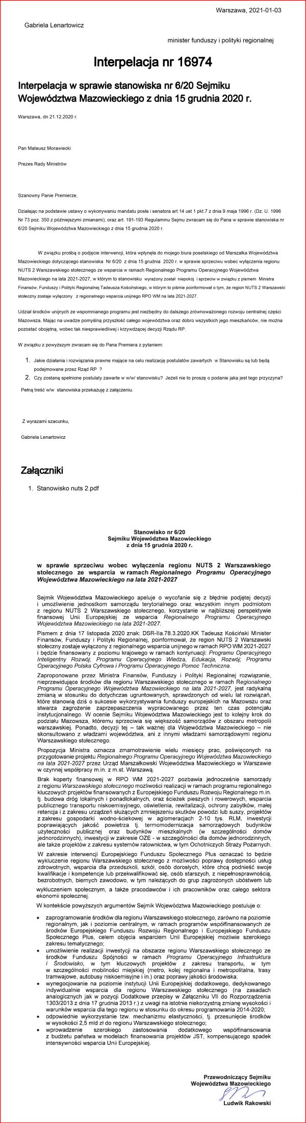 Interpelacja 16974 w sprawie stanowiska sejmiku w mazowieckiego-1