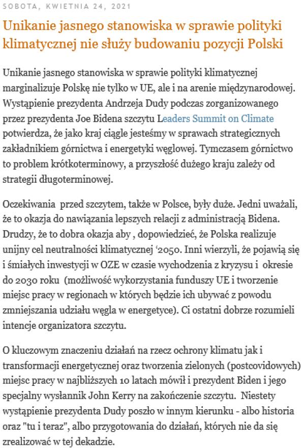 Screenshot_2021-04-25 Unikanie jasnego stanowiska w sprawie polityki klimatycznej nie służy budowaniu pozycji Polski(1)
