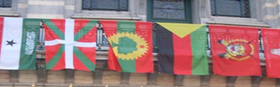The flag of Oromia outside the Summit venue