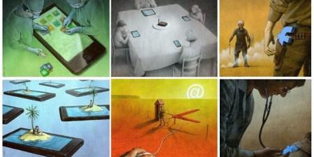 El artista Pawel Kuczynski nos muestra, a través de ilustraciones, la adicción a las redes sociales y la tecnología