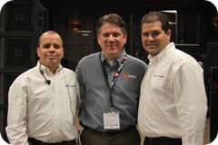 Guillermo Sanchez de Crown Audio, Francisco Hernandez de Musitempo y Alexander Rojas de JBL Prof2