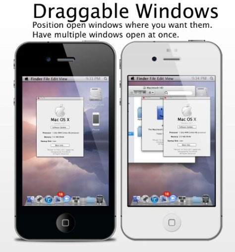 Mac OS X draggable windows in iPhone
