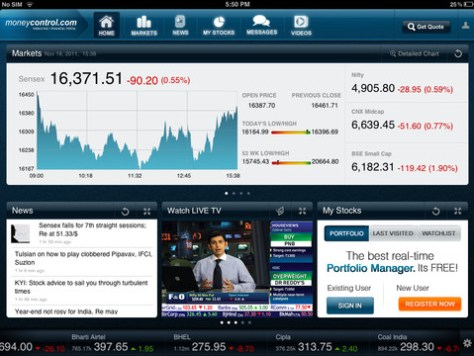 Moneycontrol iPad app - View 1
