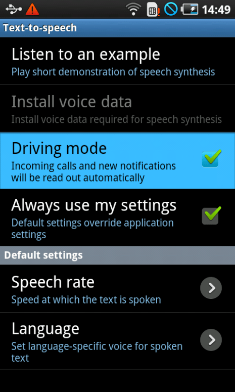 Samsung Galaxy S2 Driving Mode widget