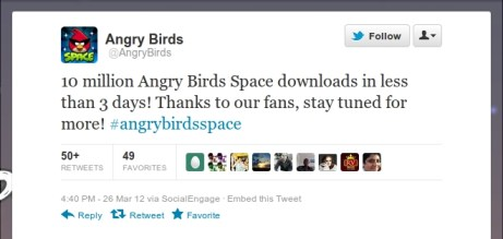 Angry Birds Space downloaded 10 Million times in just 3 days