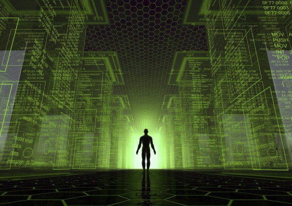 Man standing at lighted door within green matrix