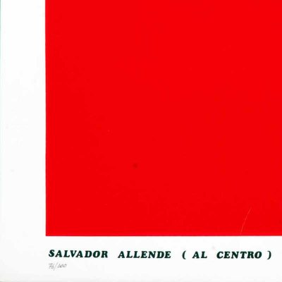 Emilio Isgrò, Salvador Allende (at the center) speaks in the red dressed in red, 1974, cm 50x70, silkscreen on paper, from the series Storie Rosse, Ed. Nino Soldano, es. 76/100