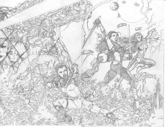 GEORGE PÉREZ'S SIRENS #1 Pencils Right-Side Cover C by George Pérez