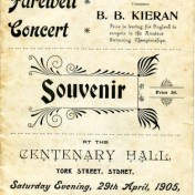 Before Barney went to England to compete a Grand Farewell Concert was held in 1905 in Sydney at Centenary Hall. Souvenir Program - digital copy donated by Hazel Bromby, President Cape Banks Family History Society.