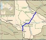 Route across Turkmenistan