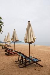 Empty beach chairs