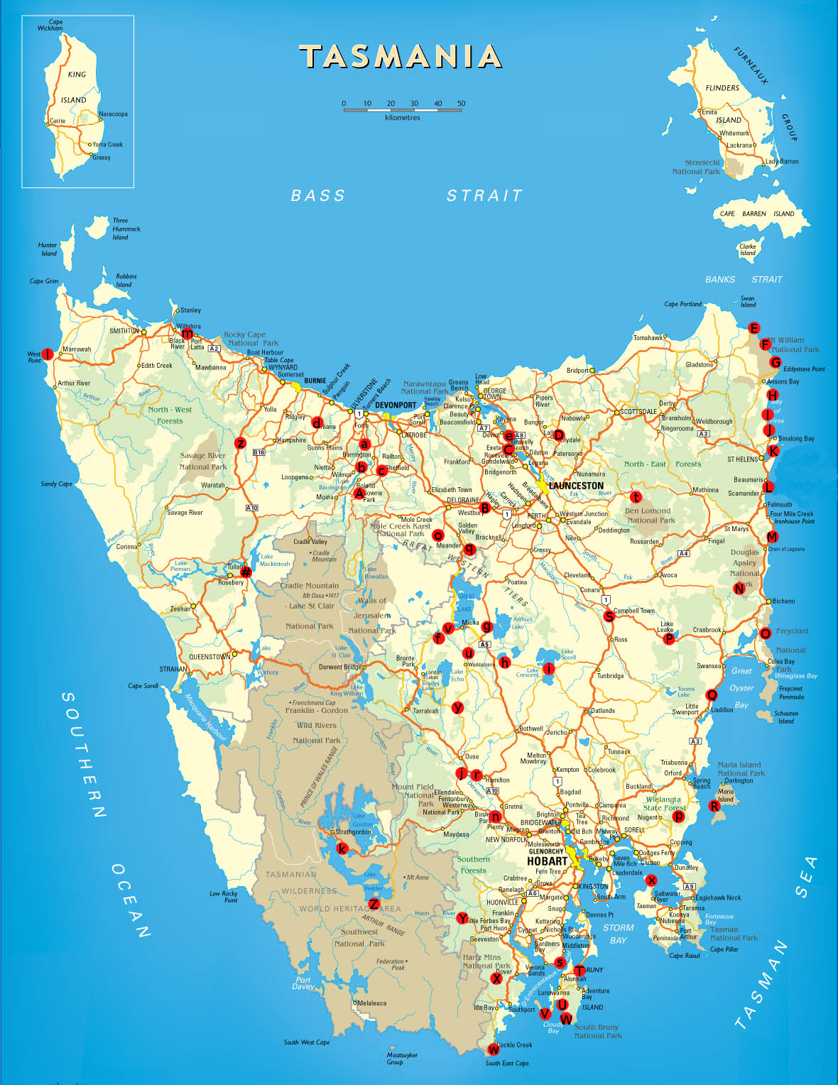 Free camping tasmania map travellingtwo bicycle touring for Free fishing spots near me