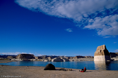 Camping in Glen Canyon national recreation area.