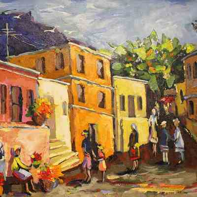 colorful town scene
