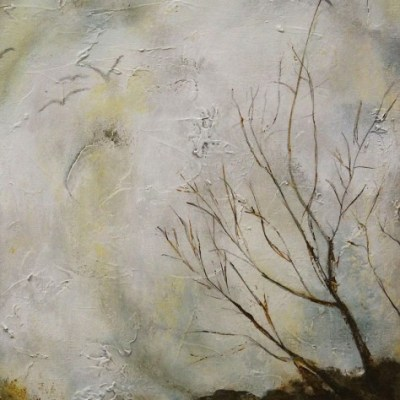 painting of leafless tree