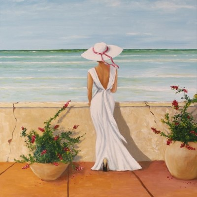 painting of a woman on a balcony overlooking the ocean