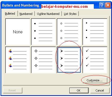 Cara mengatur bullet numbering pada microsoft word xp 2003