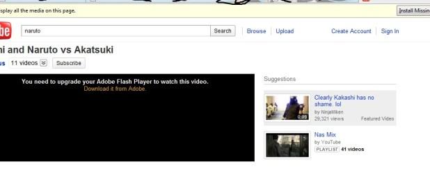 cara mengatasi video youtube yang tidak bisa tampil, install flash player