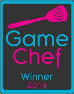 A badge that shows a flipper and the words Game Chef Winner 2014.