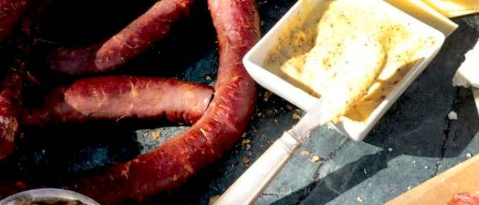 One of my favorite meals is sausage, mustard, relishes, and cheeses...devine