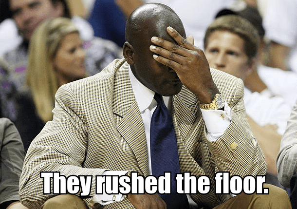 north carolina rushed floor michael jordan meme