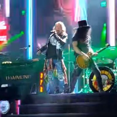 Axl Rose and Slash of Guns N' Roses performing in the Not in This Lifetime... tour at Soldier Field in Chicago, July 1, 2016