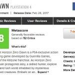 PS4『Horizon Zero Dawn』海外レビュー解禁:現在メタスコア「88」。52件中49件がポジティブな評価