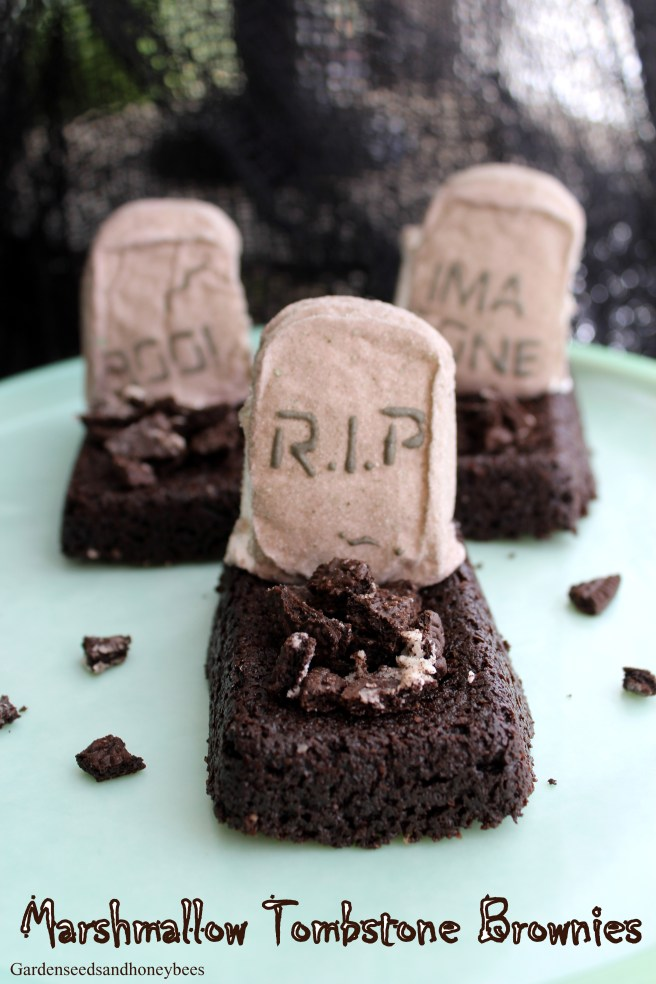 Marshmallow Tombstone Brownies - Garden Seeds and Honey Bees