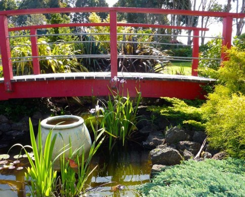 Red bridge in The Boomerangs garden