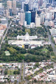 Carlton Gardens Melbourne from the air. Photo Kim Woods Rabbidge