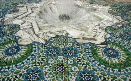 Morocco, Casablanca - mosque tiling and fountain