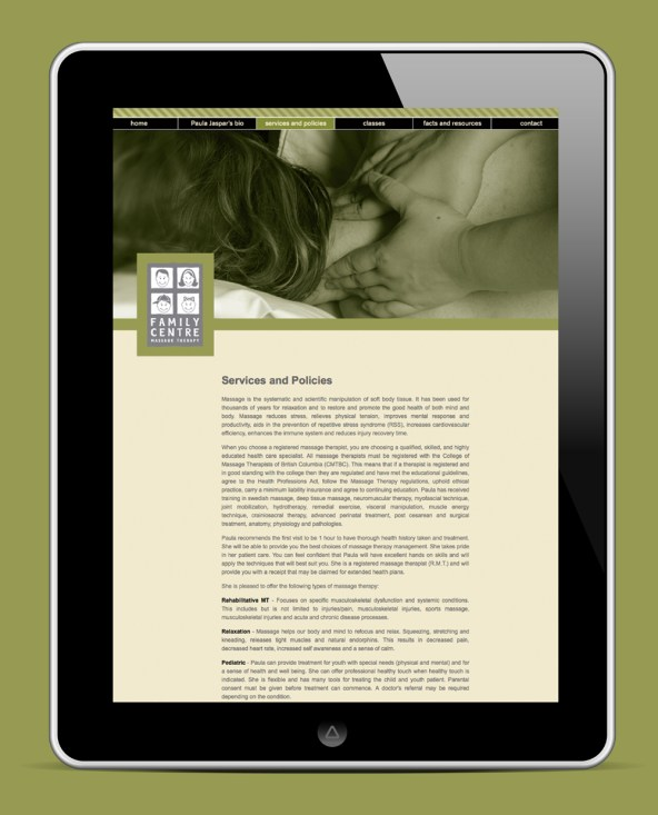 Family Centre Massage Therapy | Website Services and Policies Page