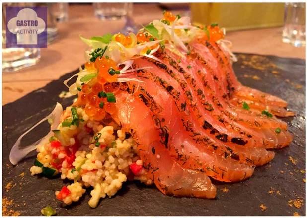 Taboule con salmón marinado y yogur de hierbas Restaurante Tandem Madrid