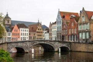 Medieval bridge over canal in Bruges, Belgium