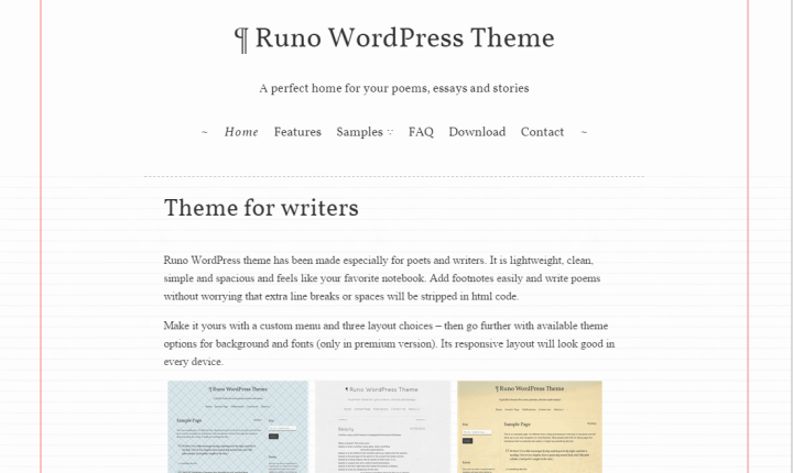 Runo Lite WordPress Theme for writers and poets