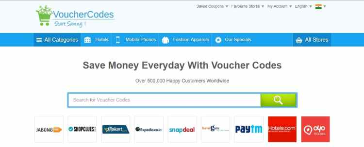 voucher codes the best homepage concept