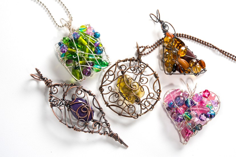 Organic Wire-Wrapped Pendants