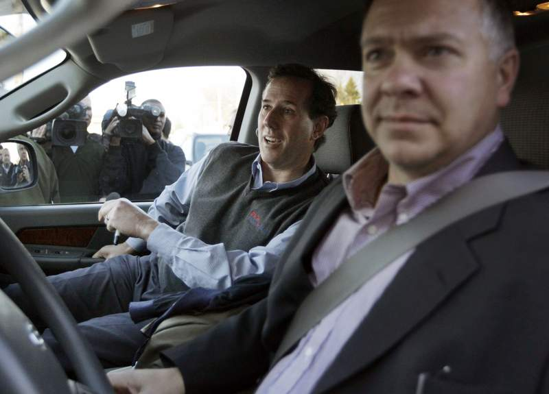 Rick Santorum spreads his message in a Ram 1500 pickup