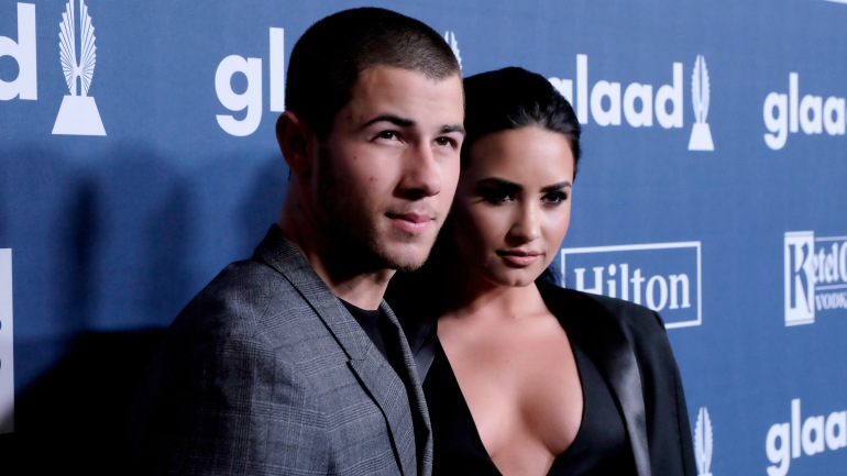 Nick Jonas & Demi Lovato at the 2016 GLAAD Media Awards