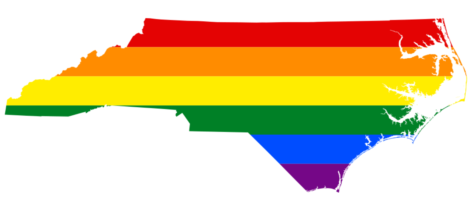 North Carolina in LGBT rainbow colors