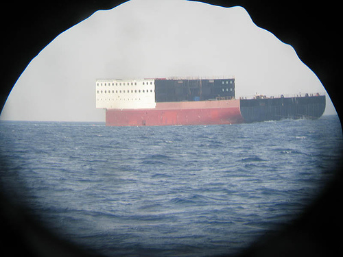 Ship as seen through binoculars