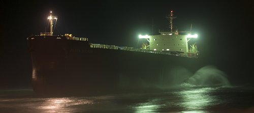 The Coal Ship Pasha Bulker Lighted at Night