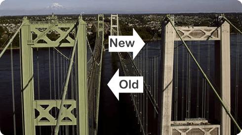 The New and Old Tacoma Narrows Bridge