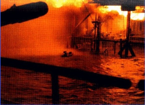 The Piper Alpha with fire in full blaze.