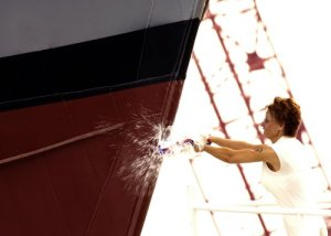Breaking a Bottle on ship\'s bow