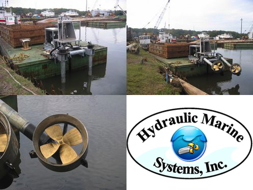 Hydraulic Marine Systems Thrusters On A Barge