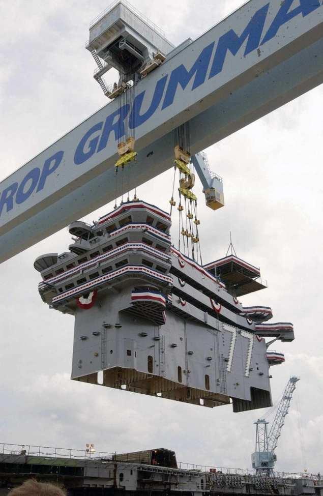 Super lift aboard the aircraft carrier George H.W. Bush CVN 77.